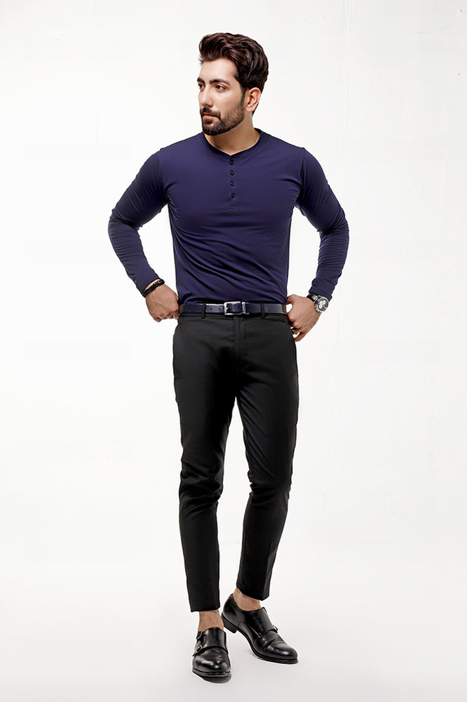 Navy Blue Full Sleeves Henley