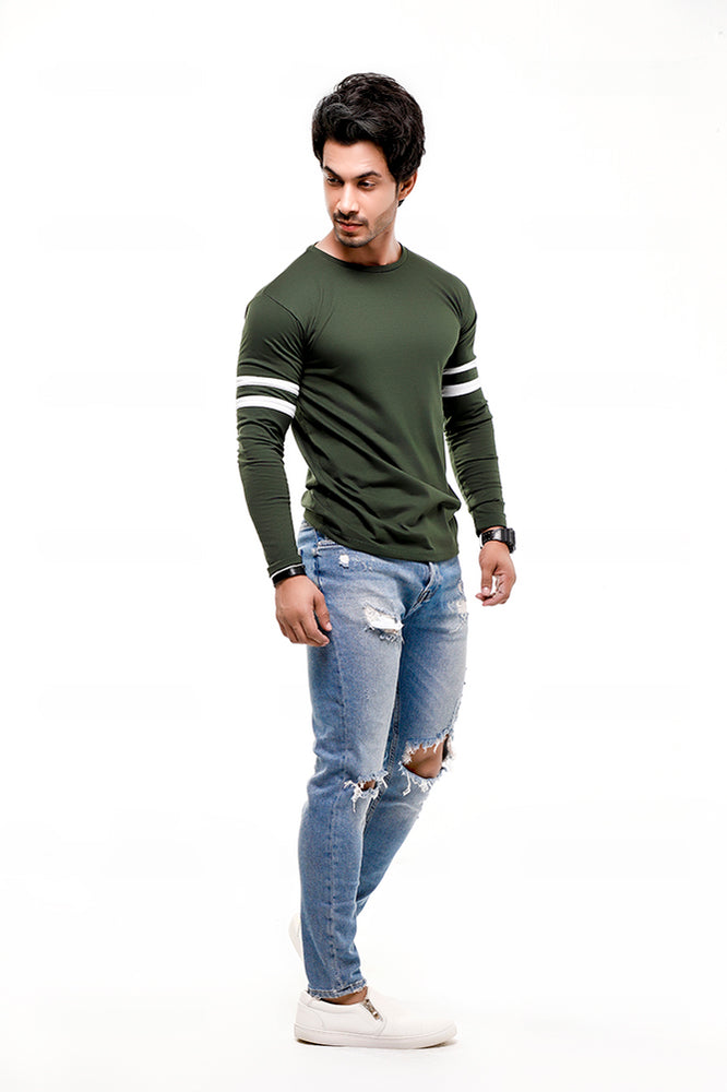 Green Contrast Full Sleeve Stripe T-Shirt