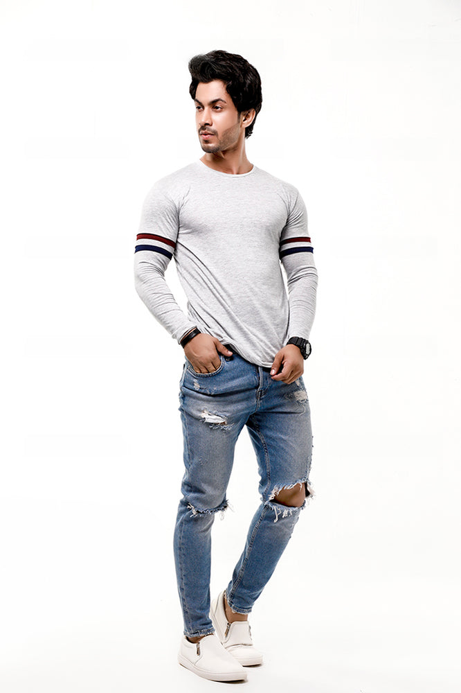 Heather Grey Contrast Full Sleeve Stripe T-Shirt