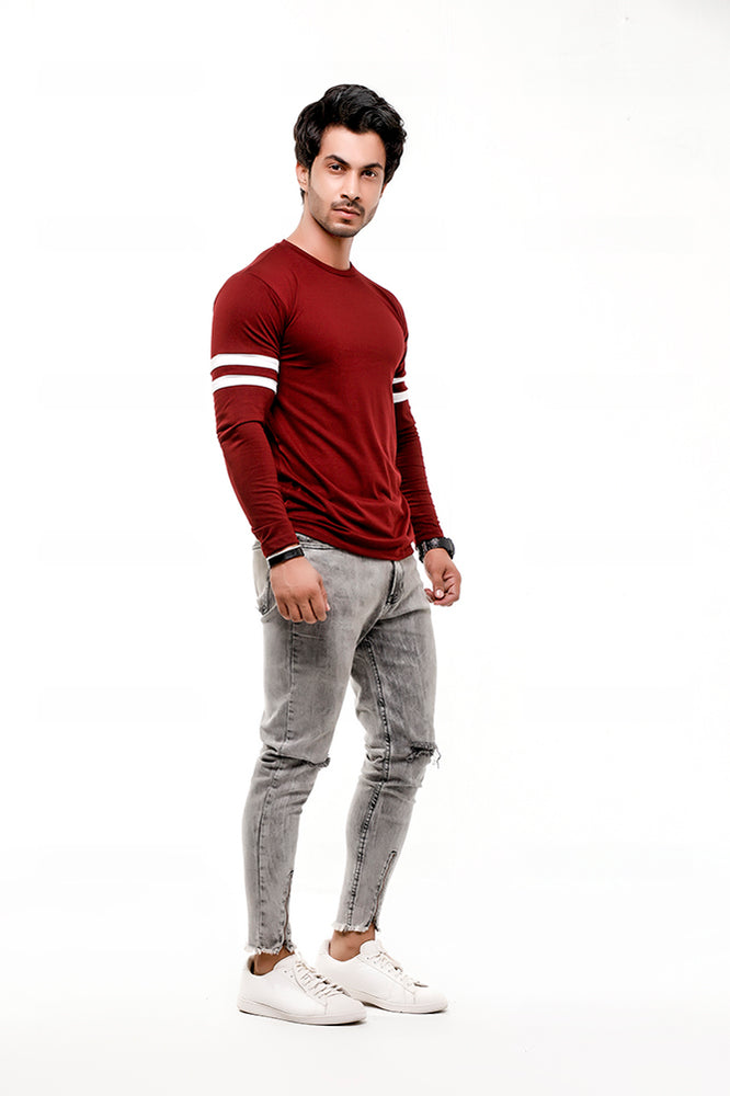 Maroon Contrast Full Sleeve Stripe T-Shirt