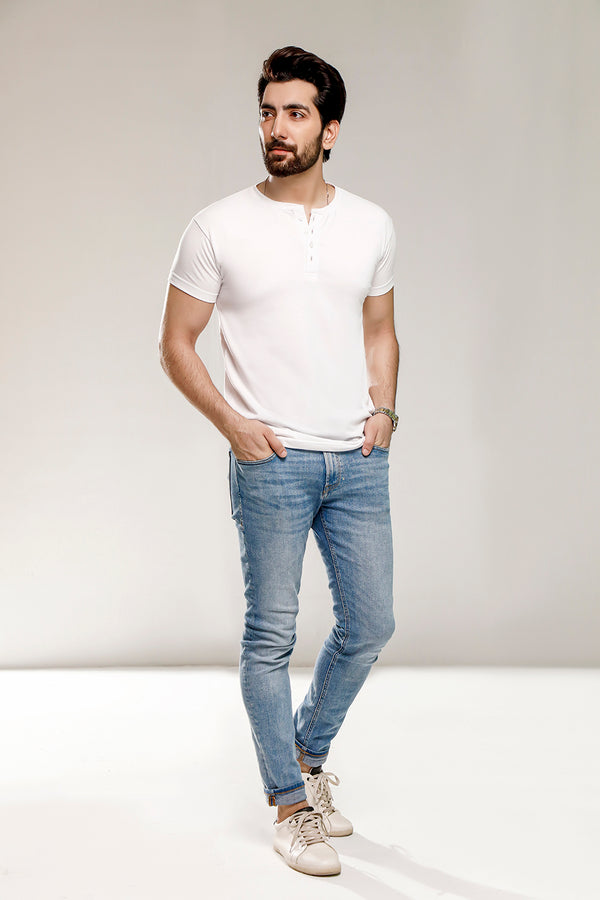 White Half Sleeves Henley
