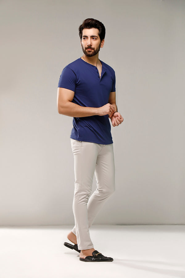 Imperial Blue Half Sleeves Henley