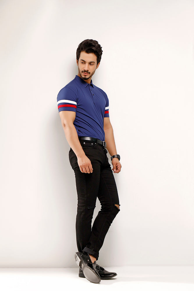 Imperial Blue Contrast Half Sleeve Stripe Polo