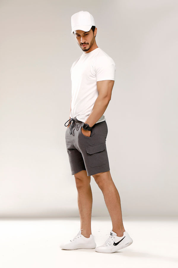 Charcoal Sweat Shorts With Cargo Pockets