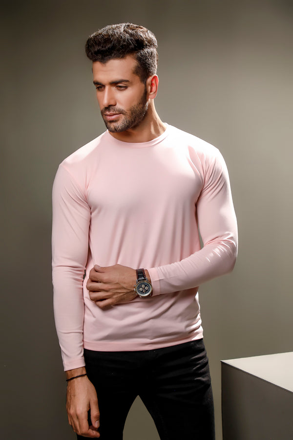 Pink Full Sleeves Crew Neck
