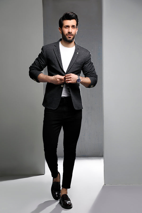 Charcoal Knitted Blazer