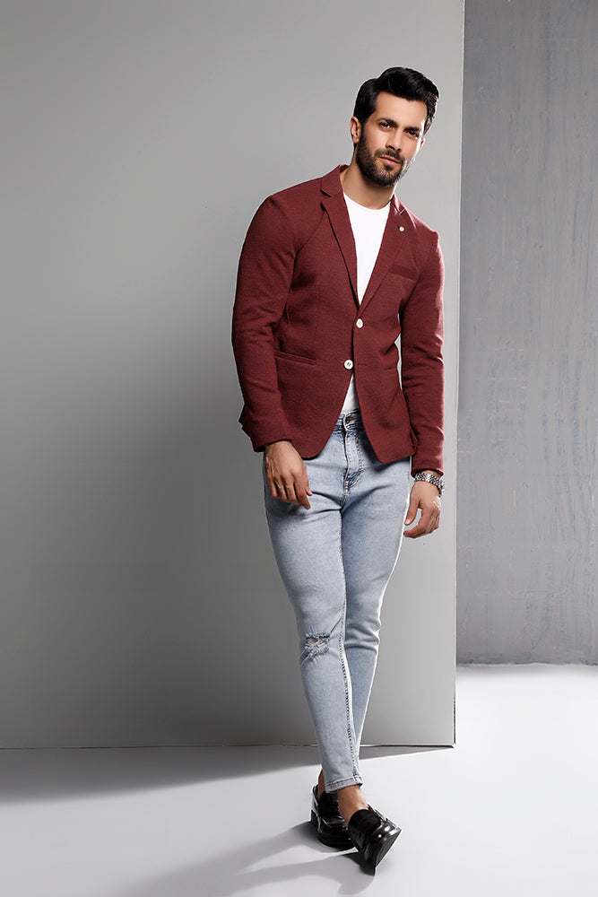 Maroon Heather Knitted Blazer