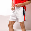 White With Red and Black Stripe Sweat Shorts