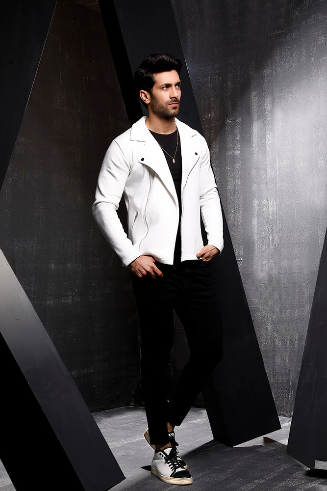 White Fleece Biker Jacket