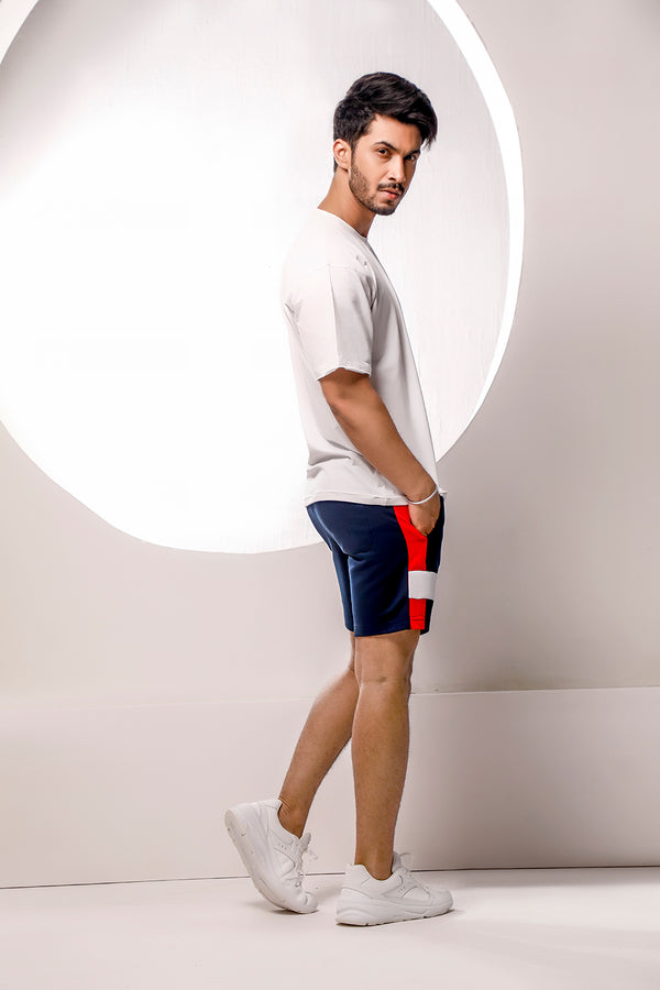 Navy Blue Color Block Shorts
