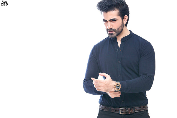 Navy Blue Full Sleeves Pique Shirt