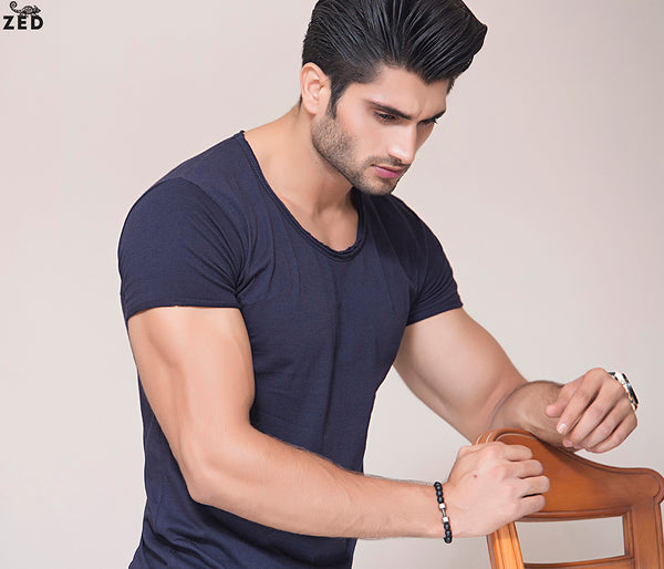 Navy Blue Scoop Neck