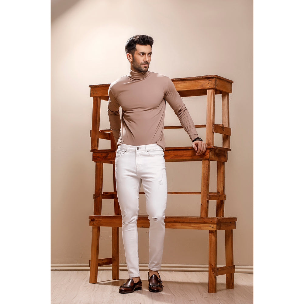 Beige Full Sleeves Turtle Neck