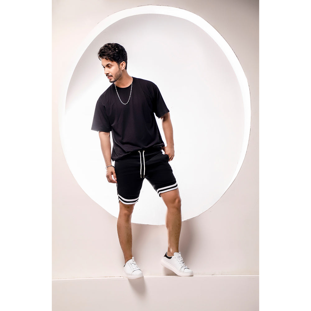 Black Sweat Shorts With Tape