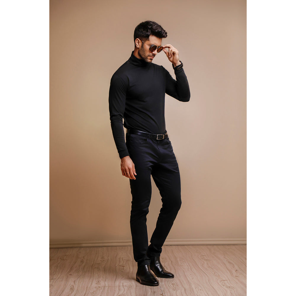 Black Full Sleeves Turtle Neck