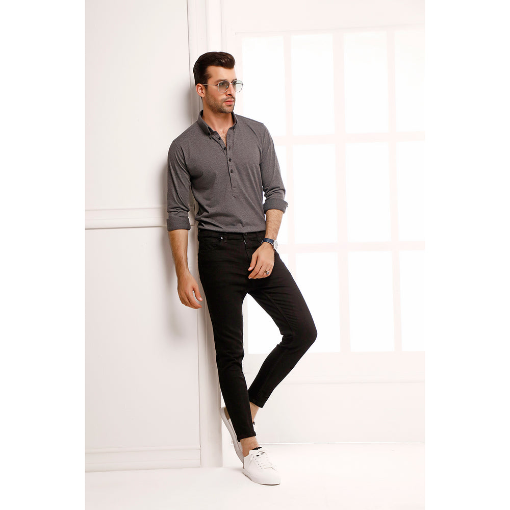 Charcoal High Collar Mid Placket Shirt