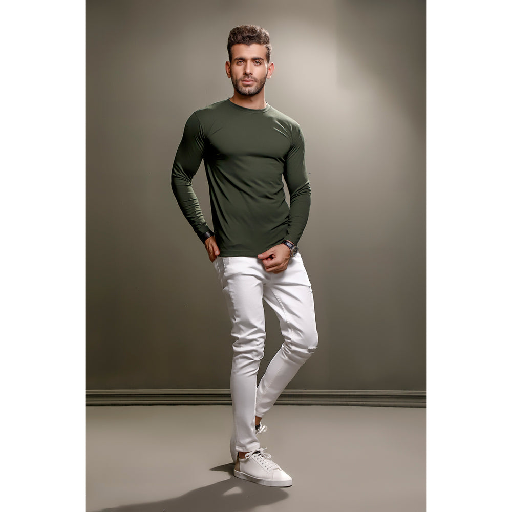 Green Full Sleeves Crew Neck