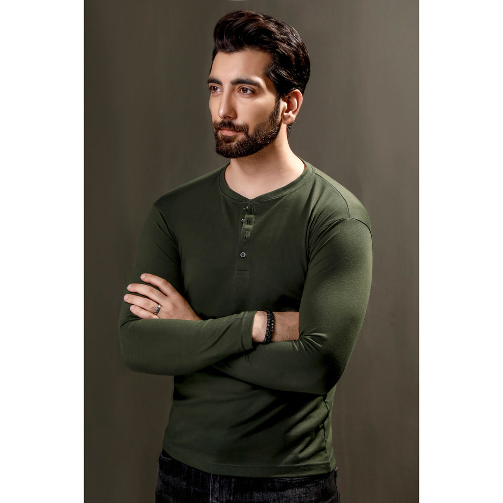 Green Full Sleeves Henley