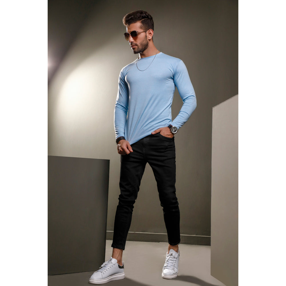 Light Blue Full Sleeves Crew Neck