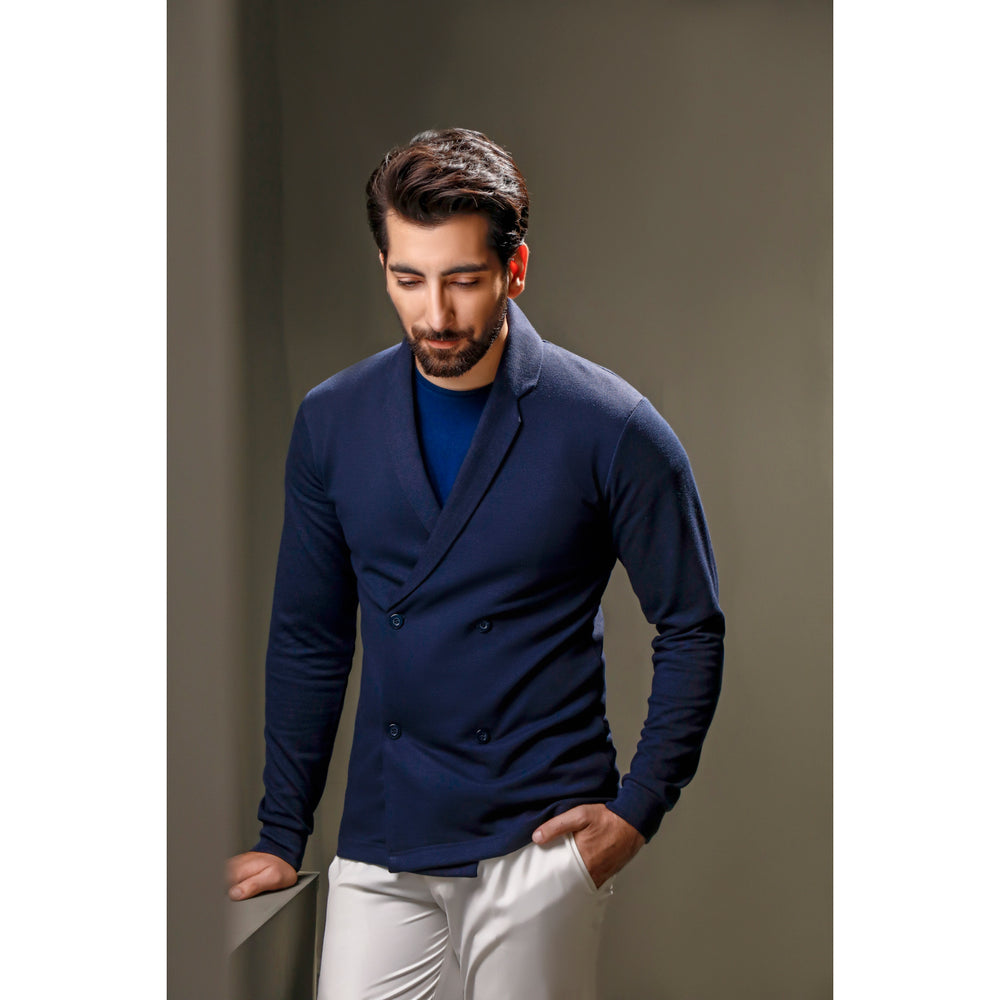 Navy Blue Double Breasted Cardigan