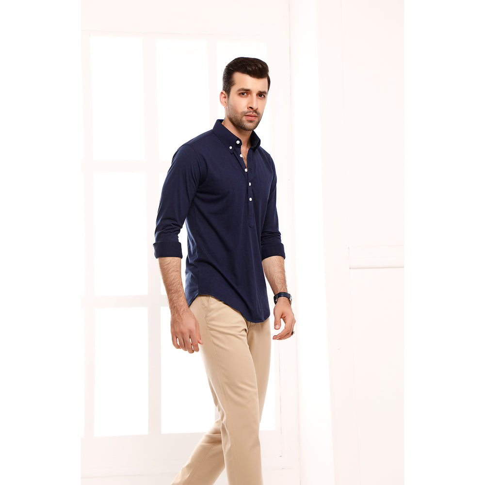 Navy Blue High Collar Mid Placket Shirt