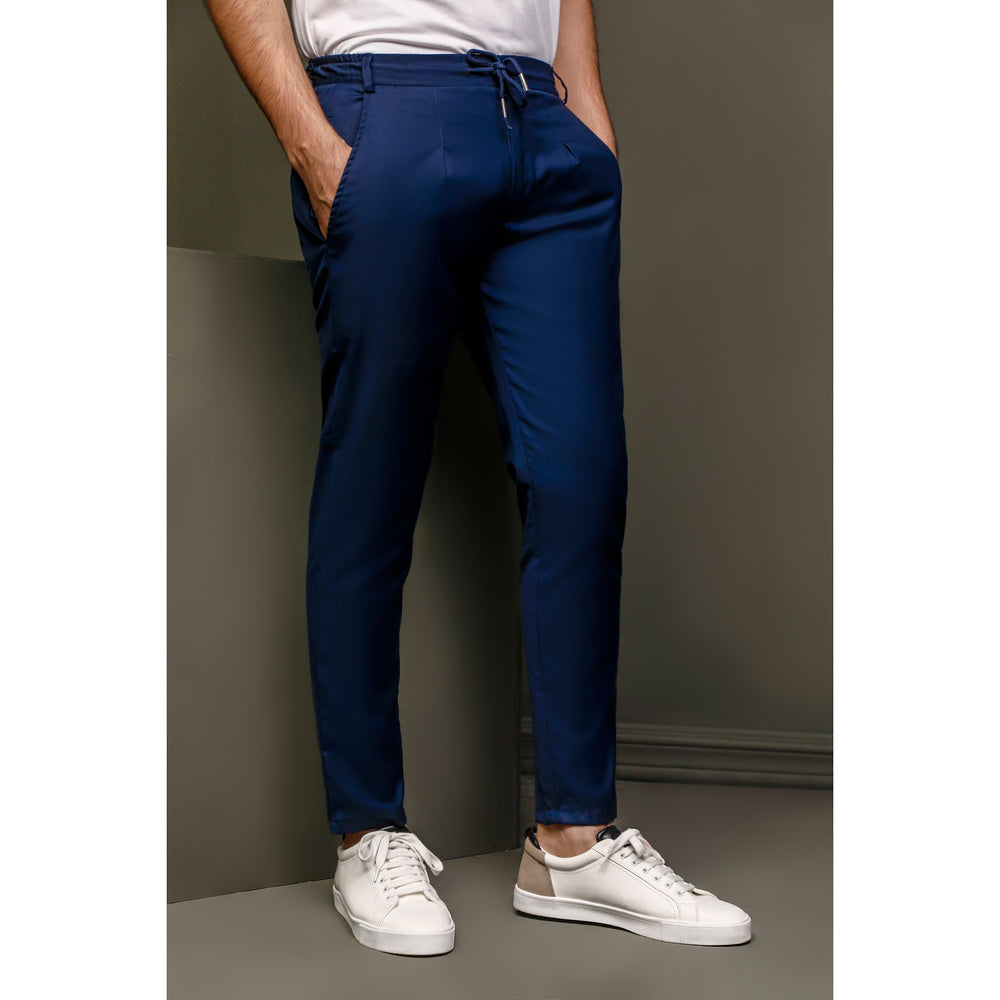 Navy Single Pleated Drawstring trouser