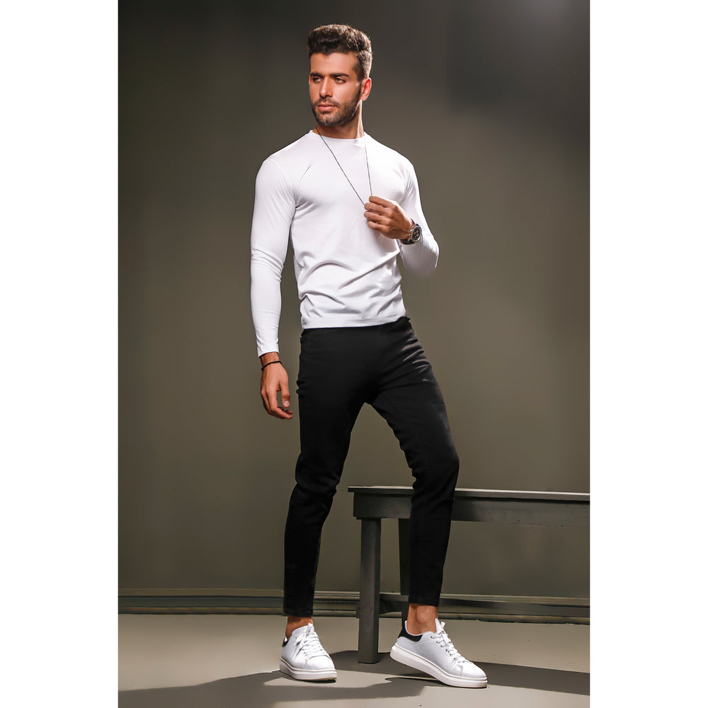 White Full Sleeves Crew Neck