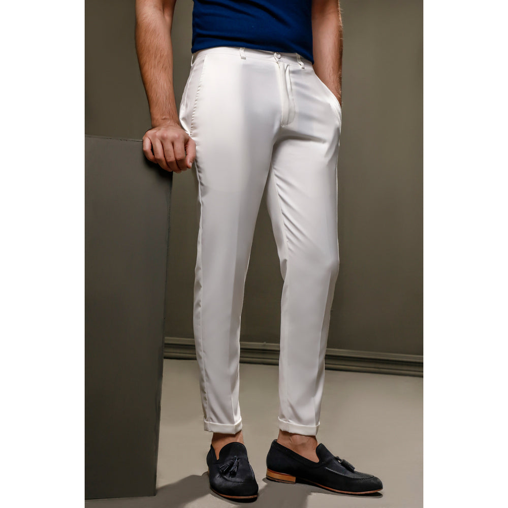 White Cropped Tailored Pants