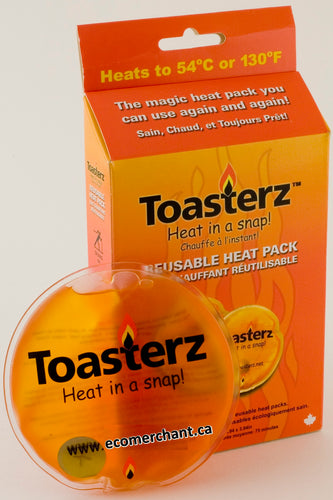 Toasterz reusable hand warmers 2 pack. This Toasterz heat pack item contains 2 x 10cm heatpacks with hundreds of reuses. Simply drop into boiling water after the warmers has hardened after cooling. Once it becomes a liquid again, usually about 15 minuyes boiling in a pot of water. Simply resnap the disc inside whenever you want warmth, the reaction starts the same after each