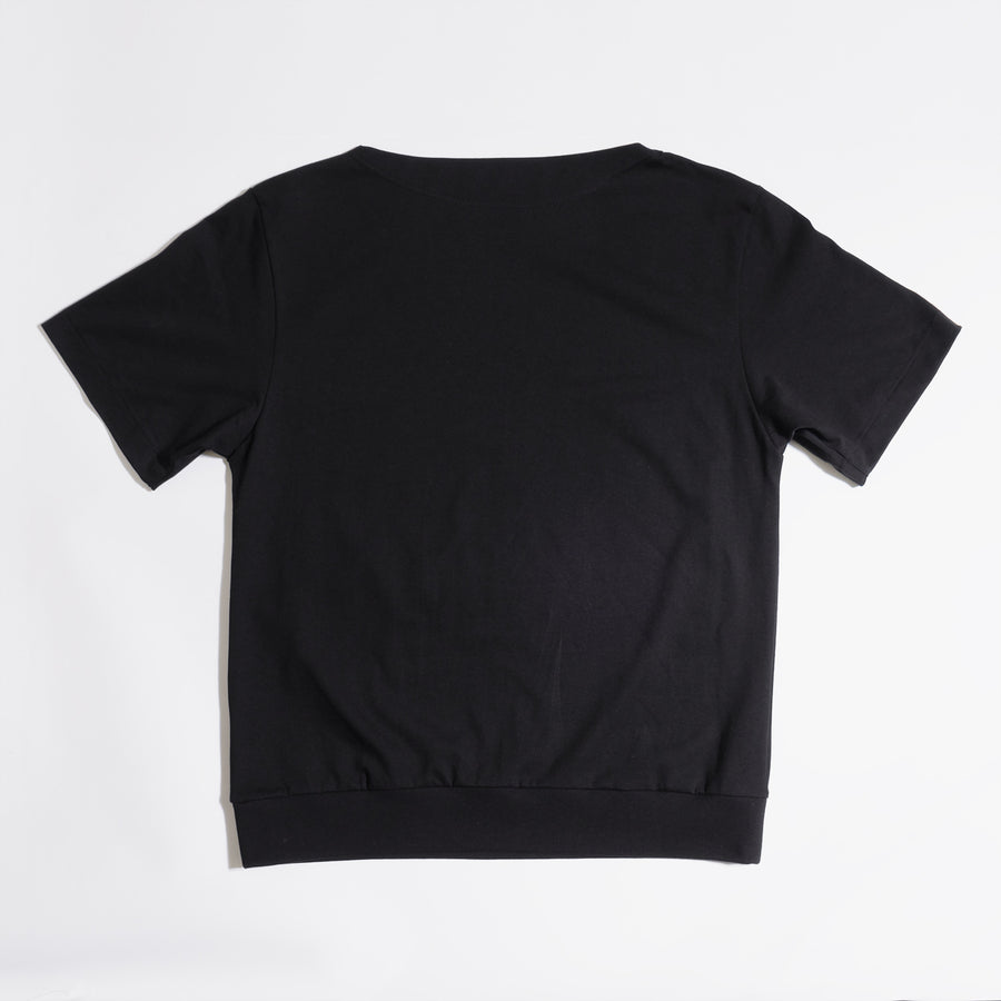 JERSEY BOAT NECK T[NPNG]- Black