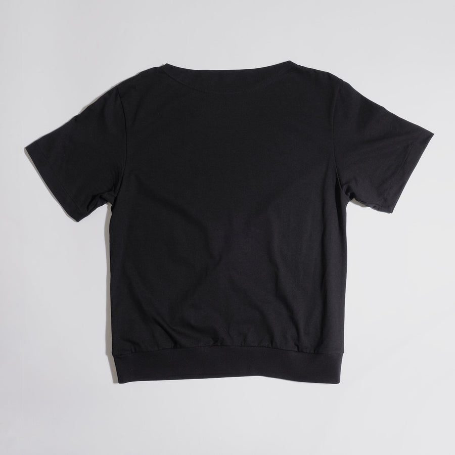 JERSEY BOAT NECK T[YOU GAIN THE COOL]- Black