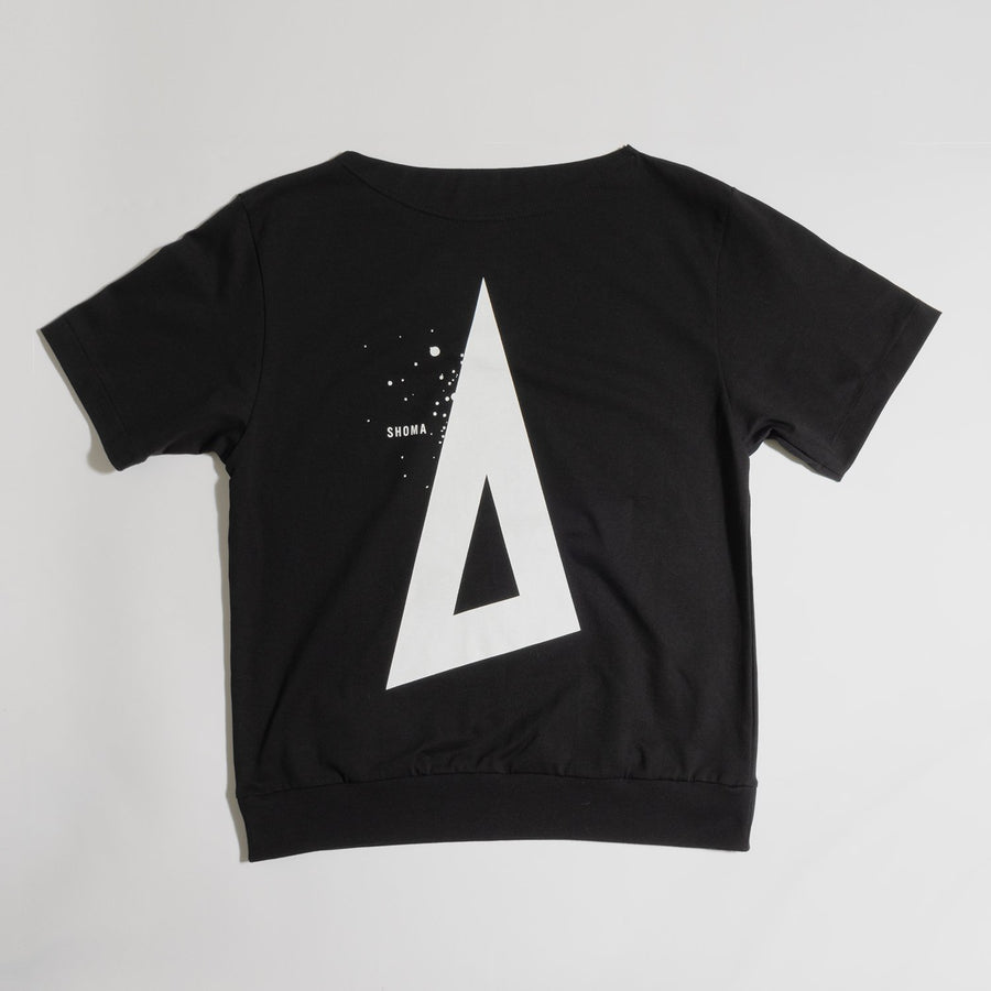 JERSEY BOAT NECK T[Triangle of SHOMA]- Black