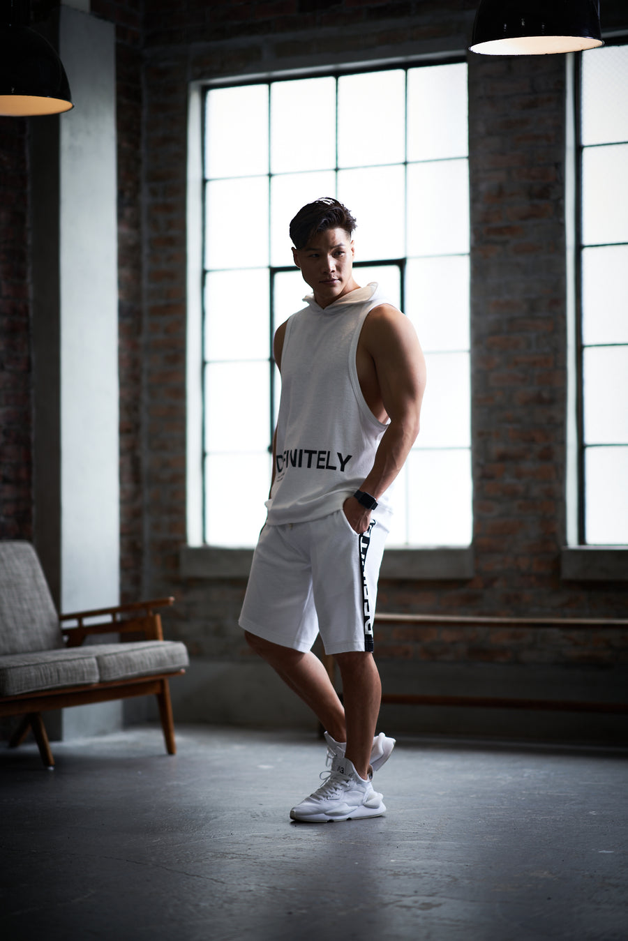 Hoodie Tank Top [DEFINITELY] - White