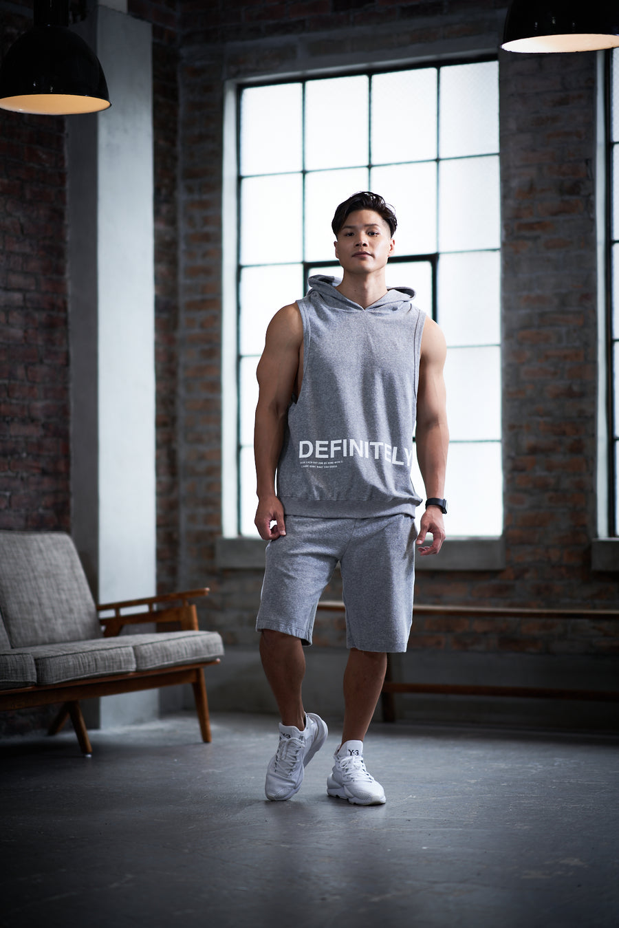 Hoodie Tank Top [DEFINITELY] - Light Gray