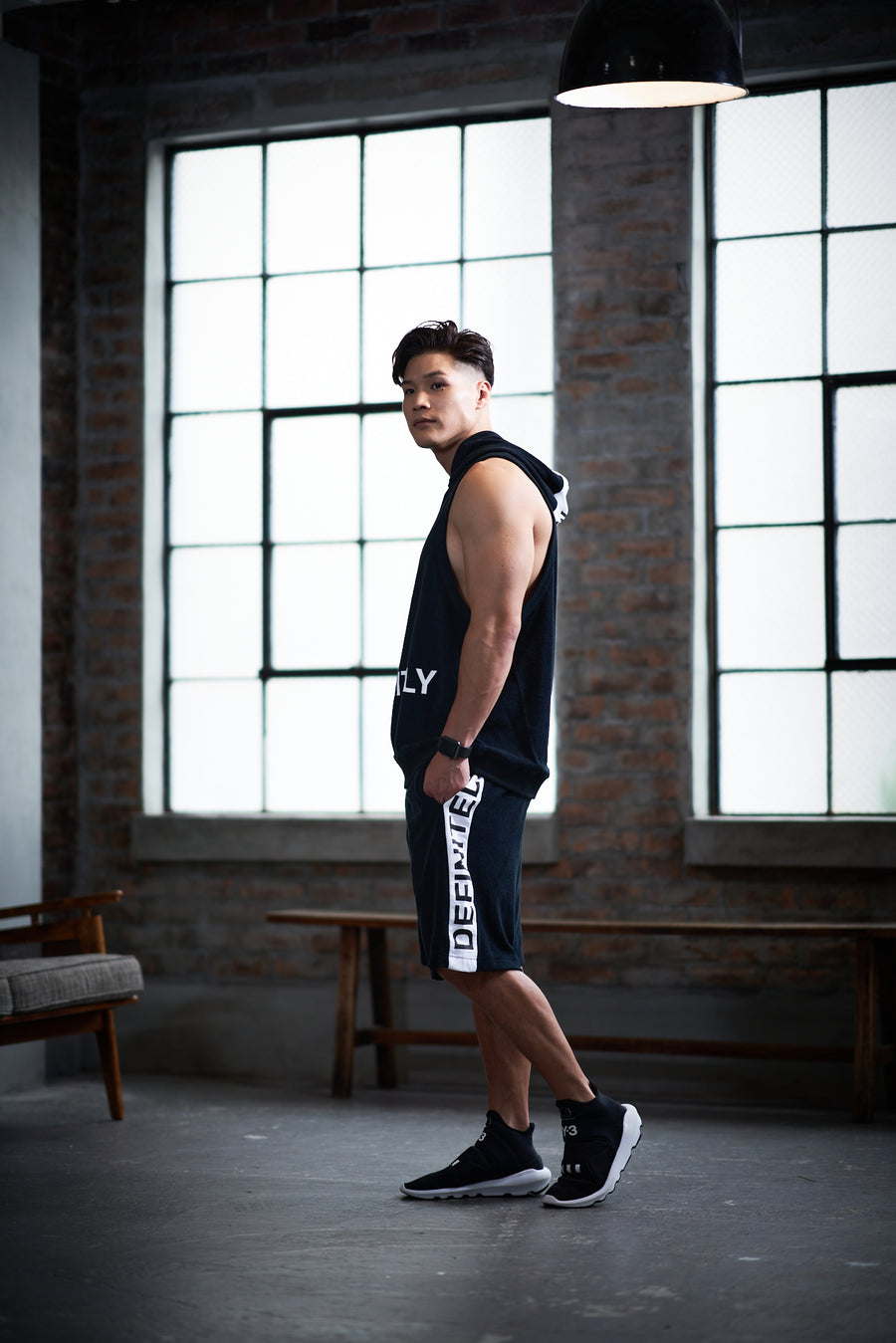 Hoodie Tank Top [DEFINITELY] - Black & White