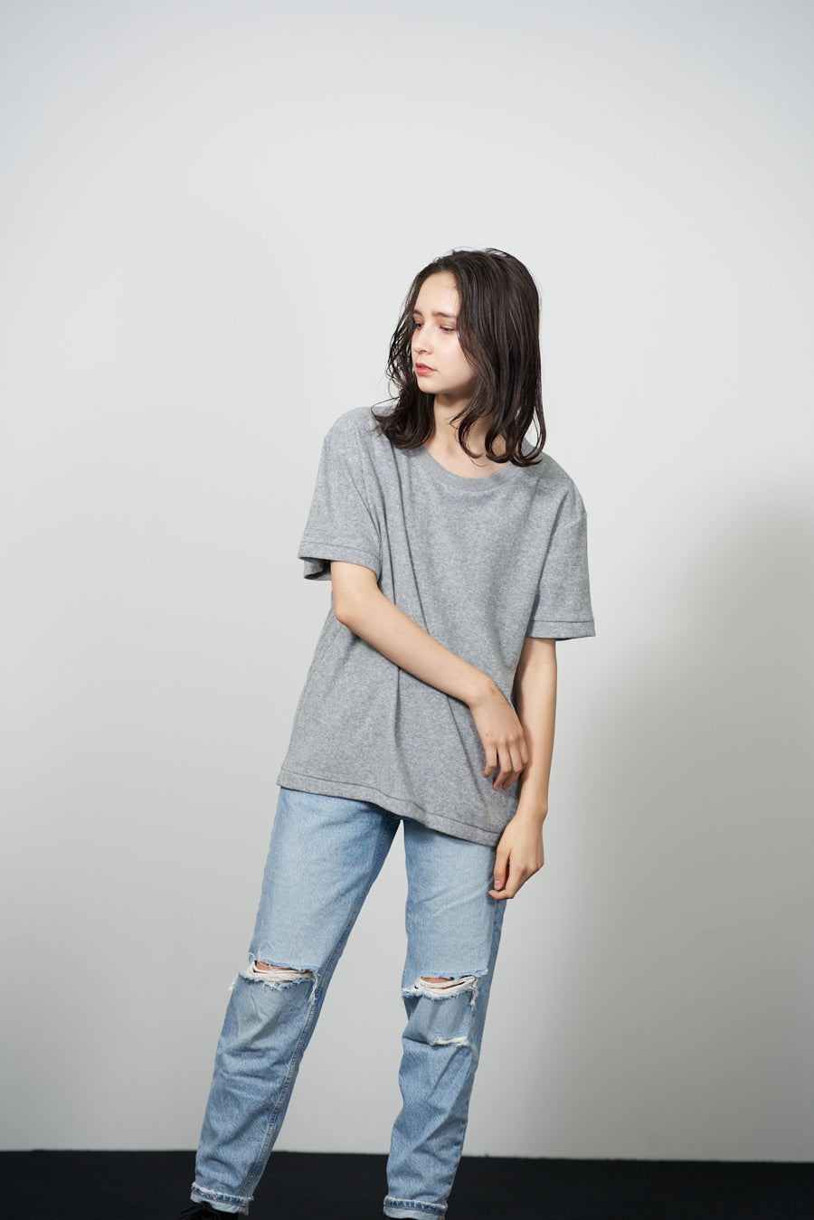 PILE CREW NECK T - Light Gray