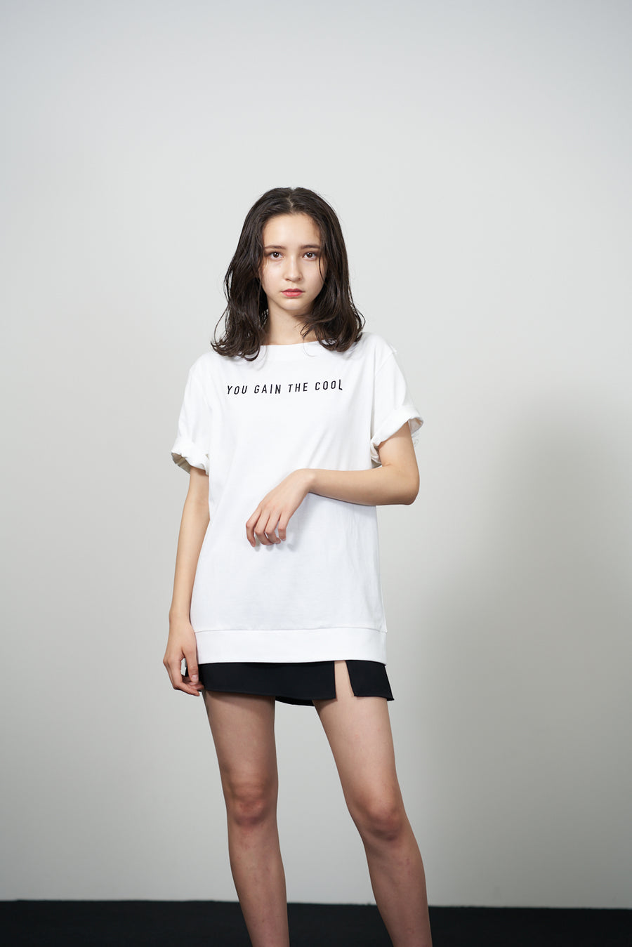 JERSEY BOAT NECK T[YOU GAIN THE COOL]- White
