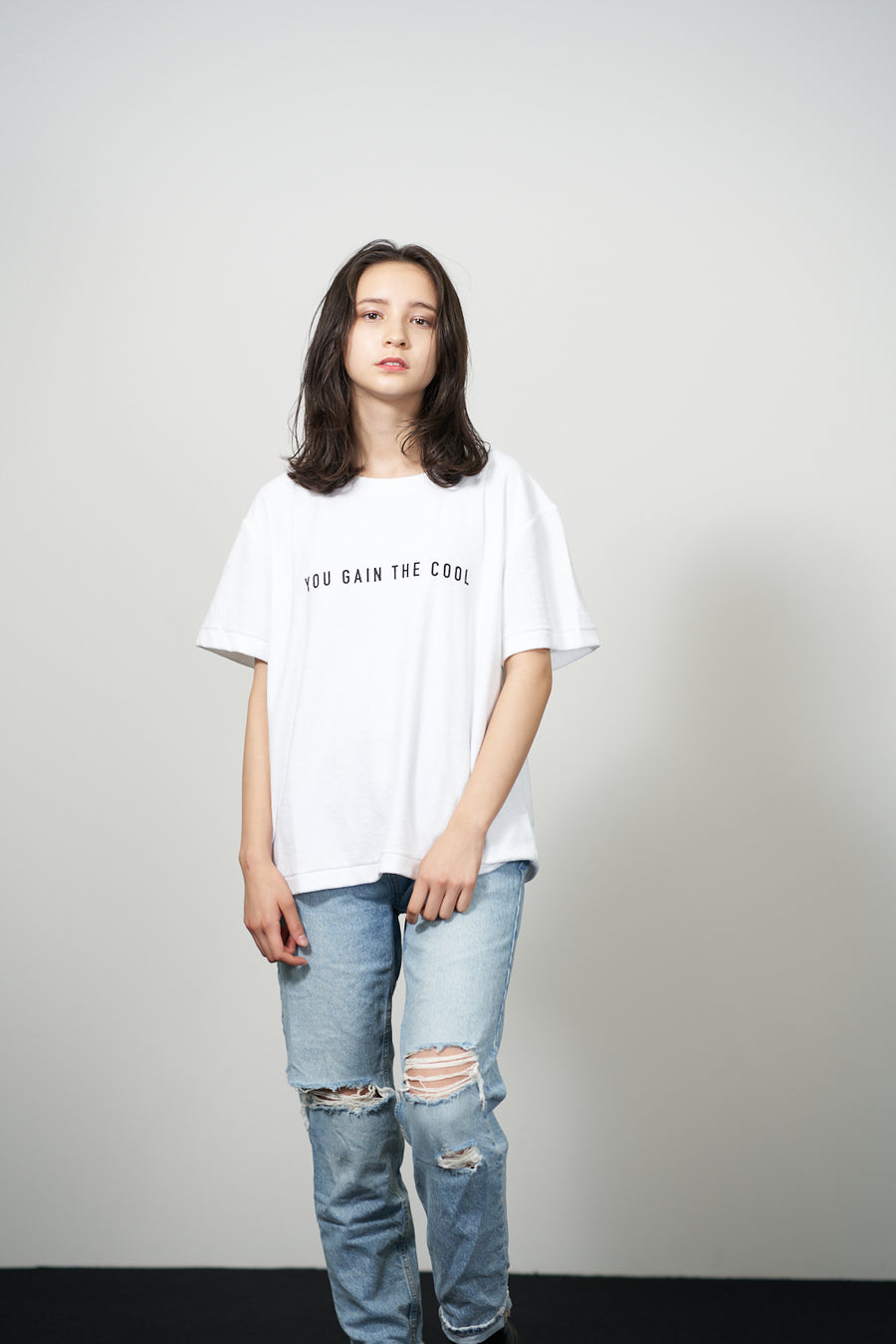 PILE CREW NECK T[YOU GAIN THE COOL]- White