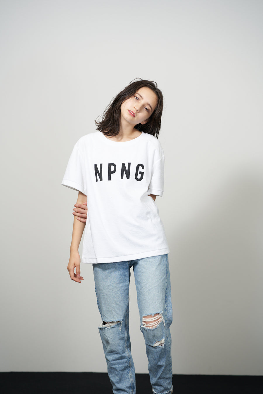 PILE CREW NECK T[NPNG]- White