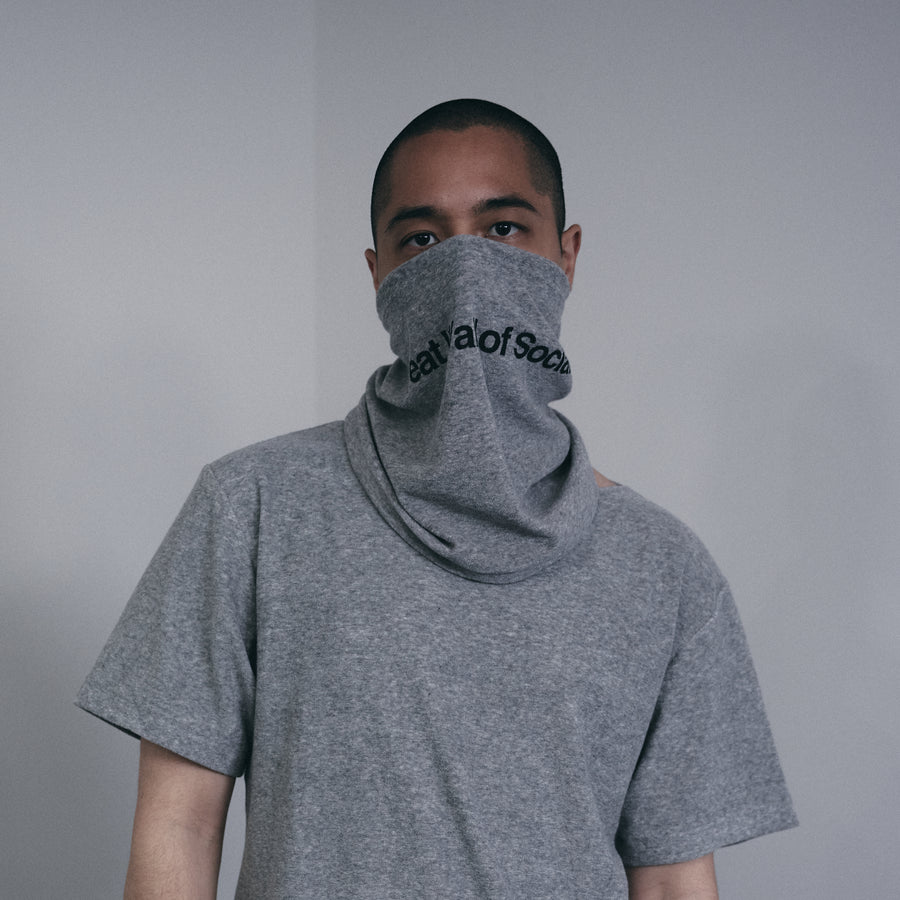 PILE SCARF MASK[Great Wall of Social]- Light Gray