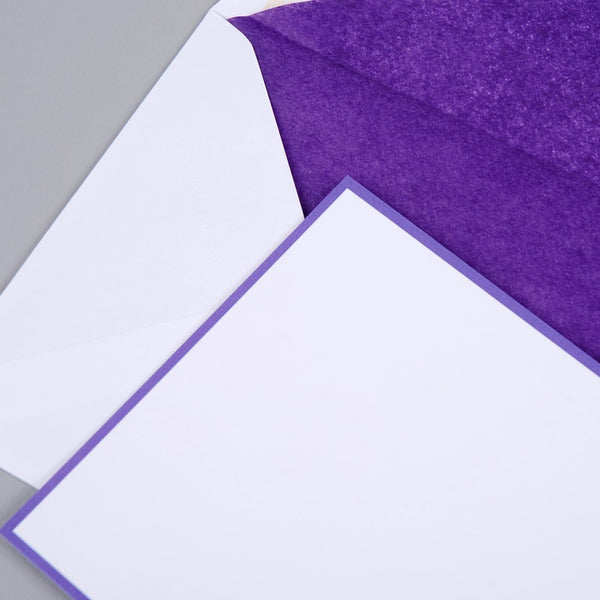 Purple Border on White Correspondence Cards