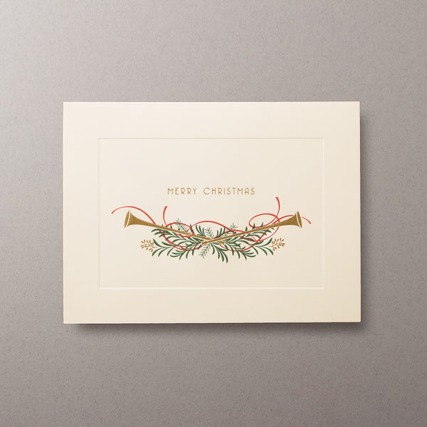Merry Christmas Trumpets Cards