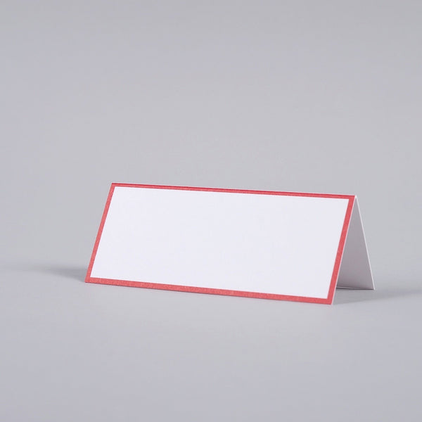 Red Border, White Tented Place Card