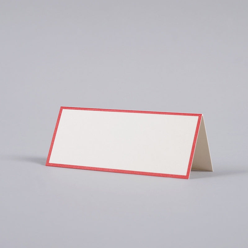 Red Border, Oyster Tented Place Card