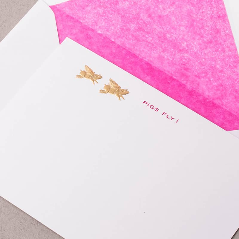 Pigs Fly - Pink Correspondence Cards