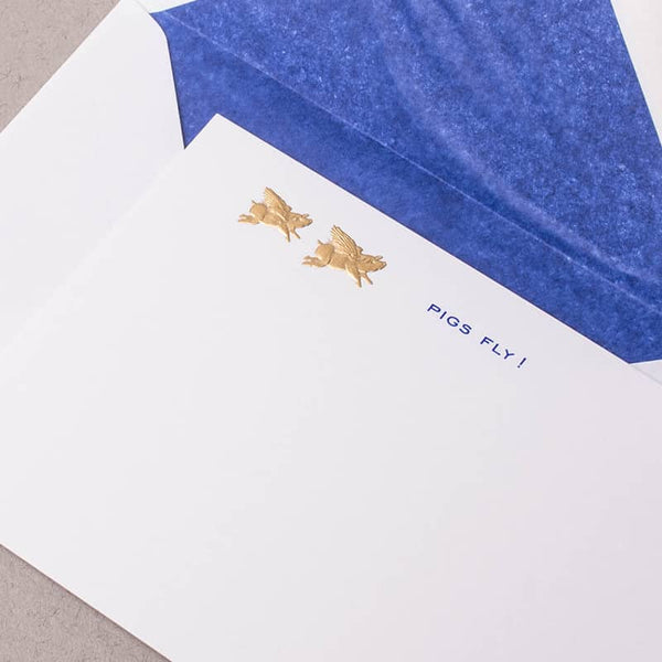 Pigs Fly - Blue Correspondence Cards