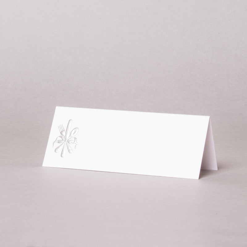 Silver Cutlery Tented Place Card