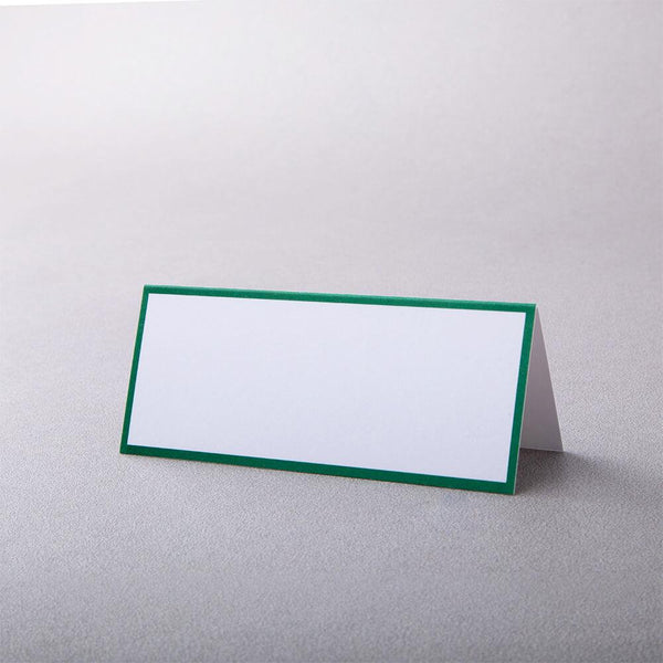 Green Border, White Tented Place Card