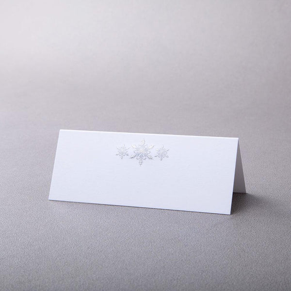 Three Snowflakes Tented Place Card - Silver