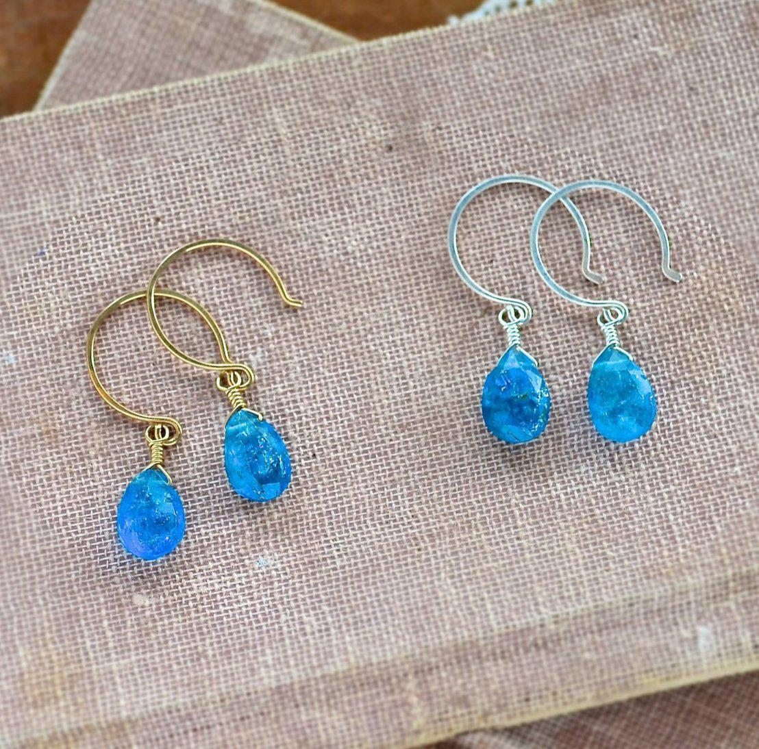 apatite neon products earrings steel stainless wanderlust hearts hypoallergenic blue stud